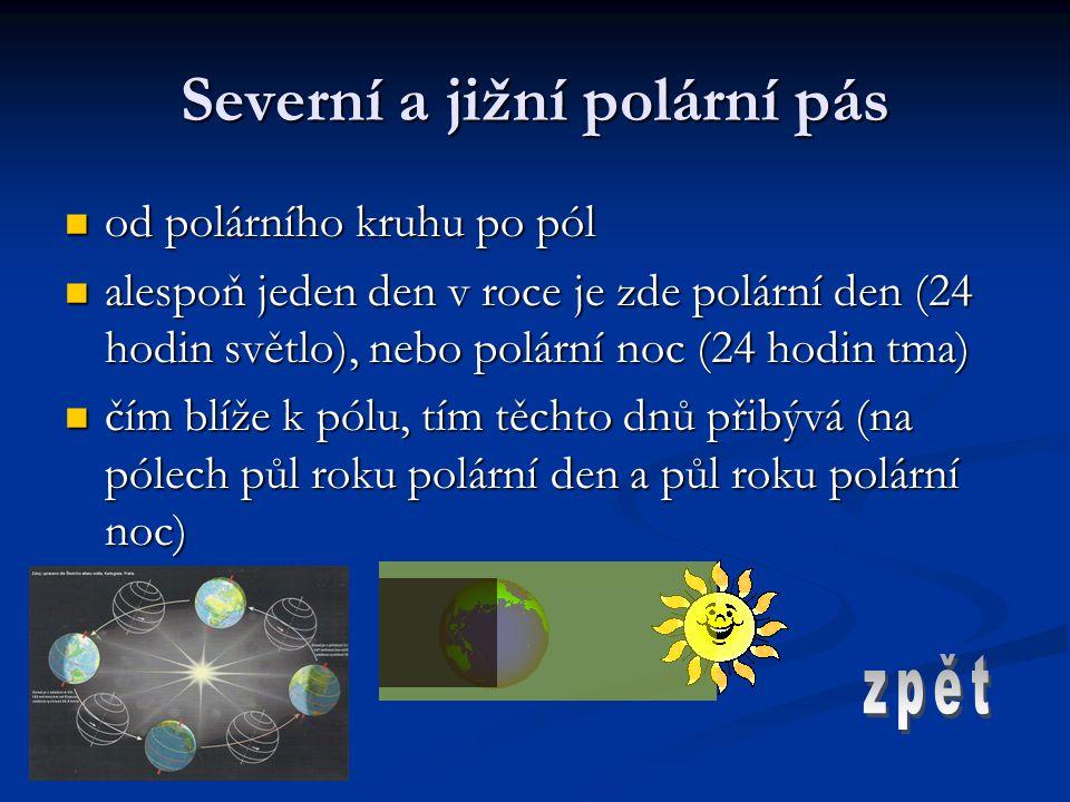 Severní a jižní polární pás od polárního kruhu po pól od polárního kruhu po pól alespoň jeden den v roce je zde polární den (24 hodin světlo), nebo po