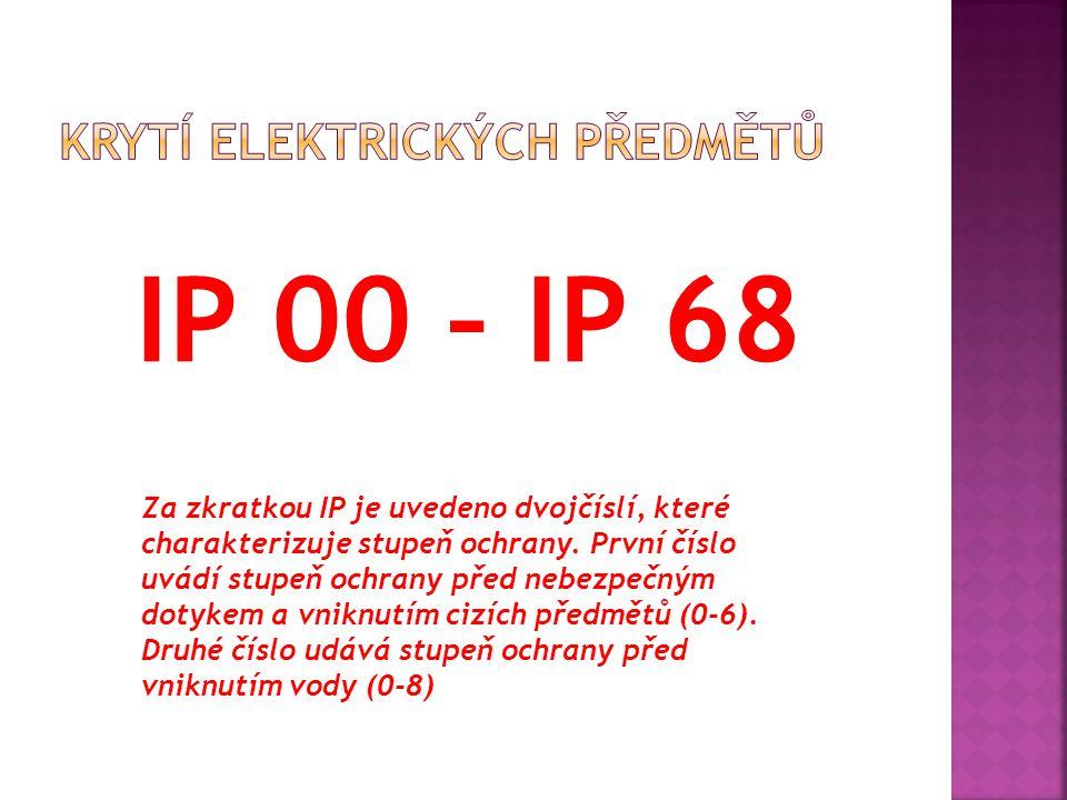  První číslice v označení stupně krytí před nebezpečným dotykem/před vniknutím cizích předmětů IP0x bez ochrany IP1x dlaní - velkých předmětů (>50 mm) IP2x prstem - malých předmětů (>12,5 mm) IP3x nástrojem - drobných (>2,5 mm) IP4x nástrojem - velmi drobných (>1 mm) IP5x jakoukoli pomůckou, prachu částečně IP6x jakoukoli pomůckou, prachu úplně