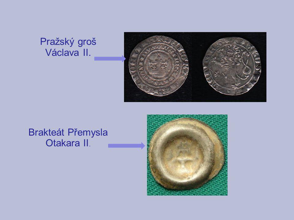 Pražský groš Václava II. Brakteát Přemysla Otakara II.