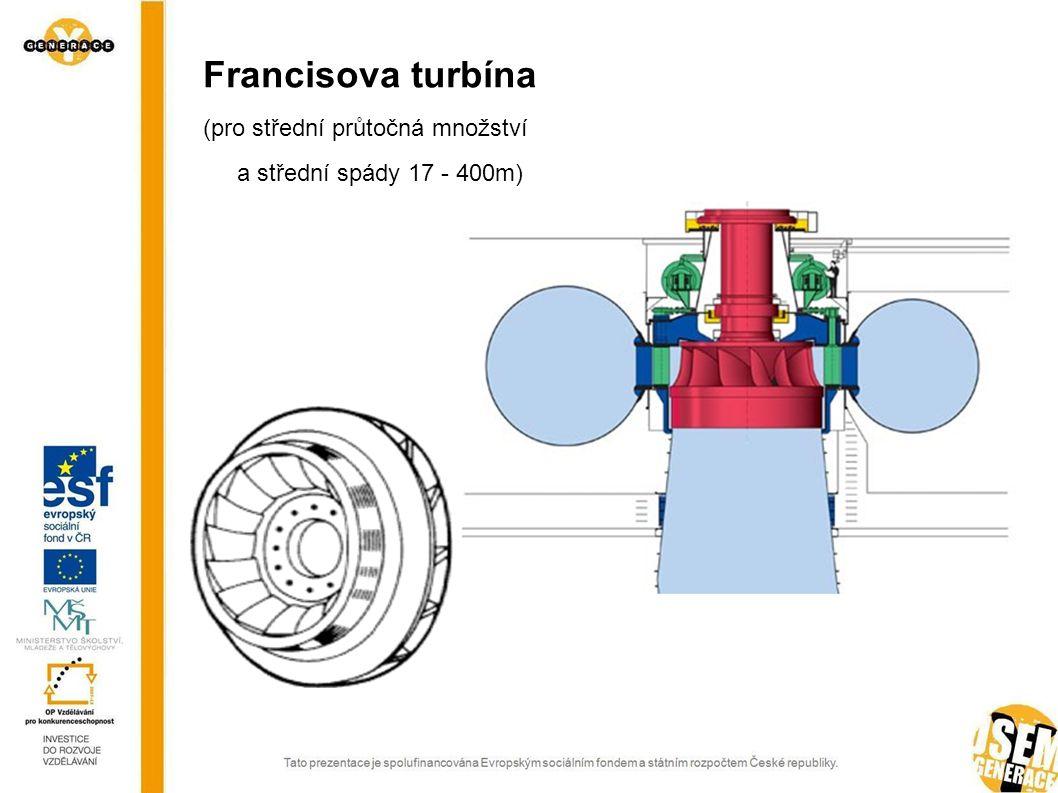 Peltonova turbína (pro nejmenší průtočná množství a nejvyšší spády 400 - 1700m)