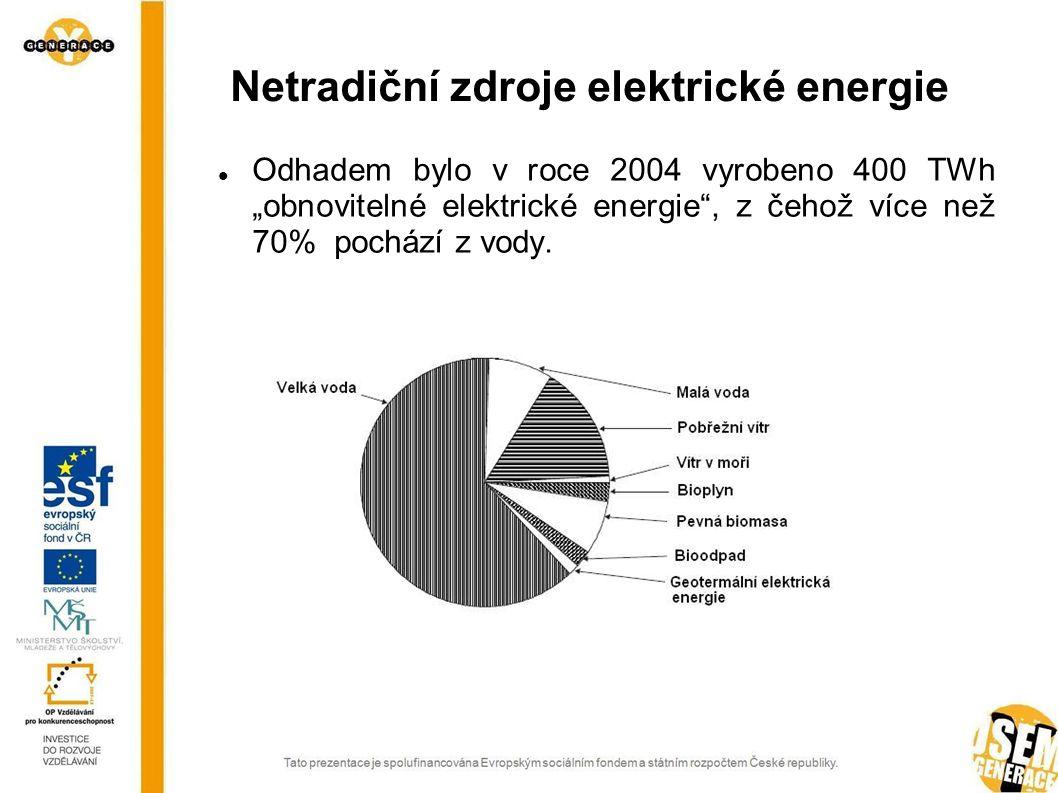 """Netradiční zdroje elektrické energie Odhadem bylo v roce 2004 vyrobeno 400 TWh """"obnovitelné elektrické energie"""", z čehož více než 70% pochází z vody."""