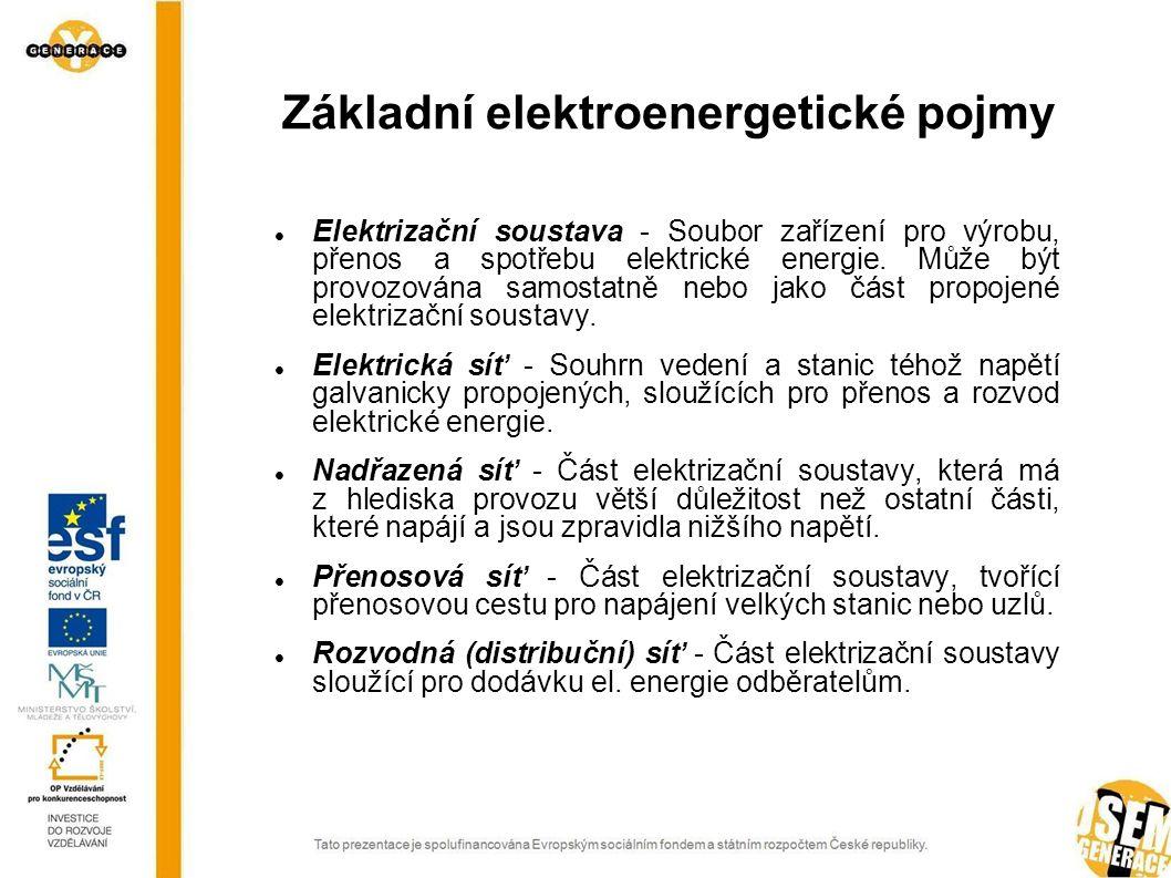 Základní elektroenergetické pojmy Elektrizační soustava - Soubor zařízení pro výrobu, přenos a spotřebu elektrické energie. Může být provozována samos