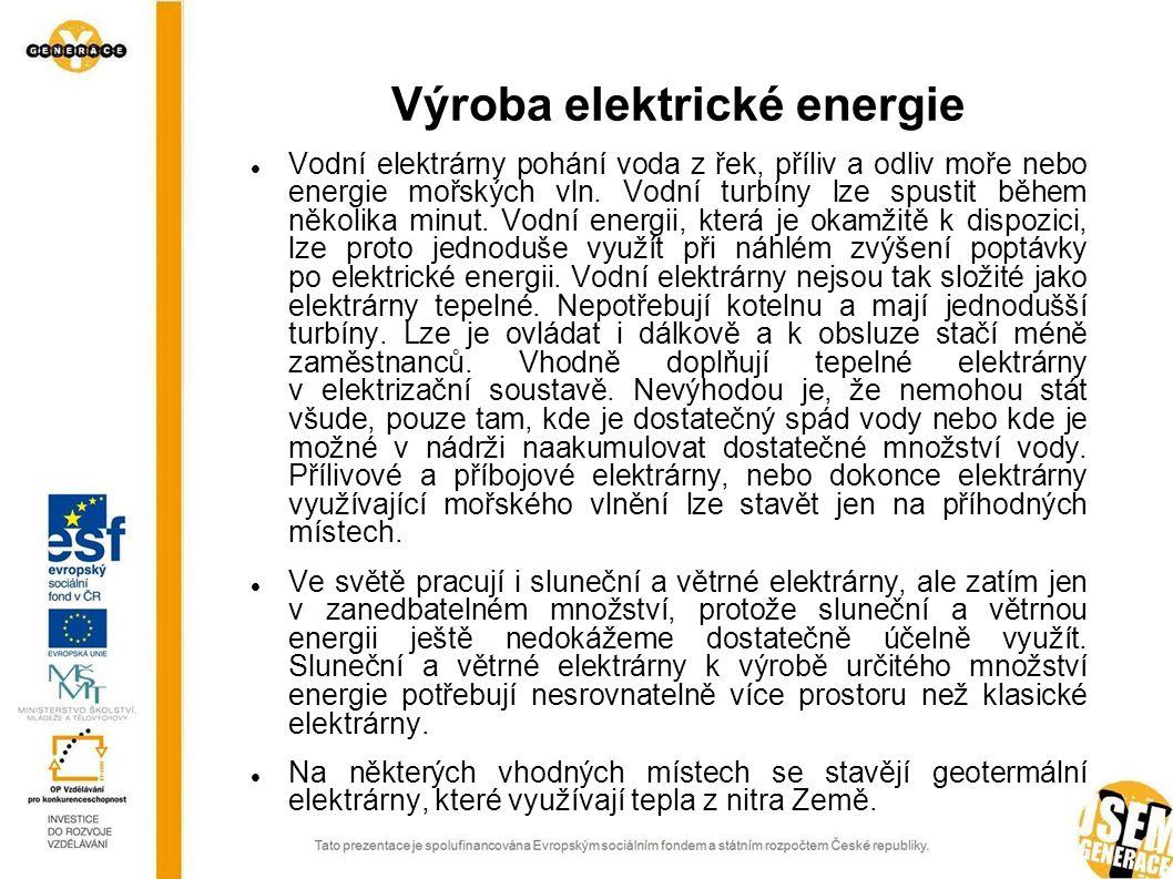 Schéma spalovací tepelné elektrárny