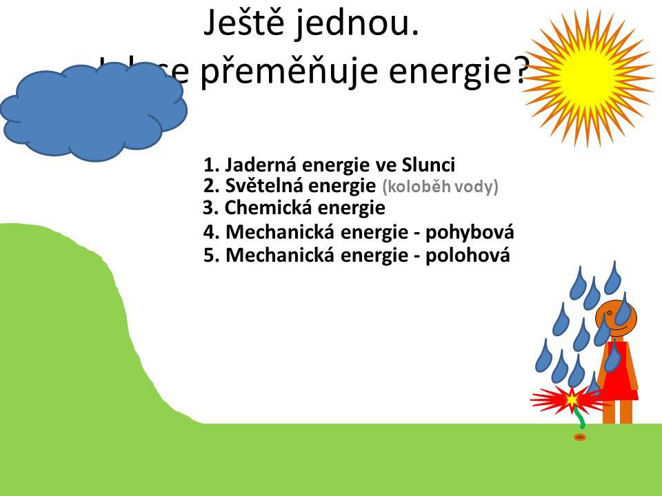 Ještě jednou. Jak se přeměňuje energie? 1. Jaderná energie ve Slunci 2. Světelná energie (koloběh vody) 3. Chemická energie 4. Mechanická energie - po