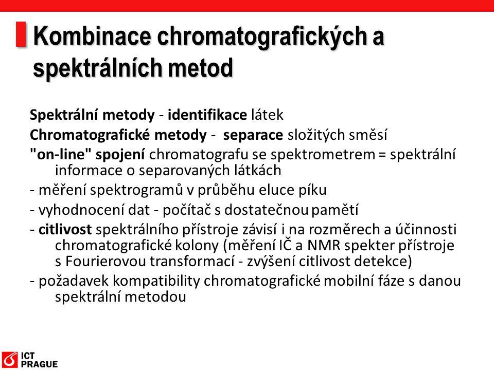 Kombinace chromatografických a spektrálních metod Spektrální metody - identifikace látek Chromatografické metody - separace složitých směsí