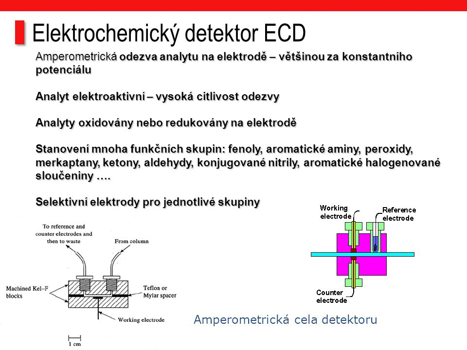 Amperometrická odezva analytu na elektrodě – většinou za konstantního potenciálu Analyt elektroaktivní – vysoká citlivost odezvy Analyty oxidovány neb