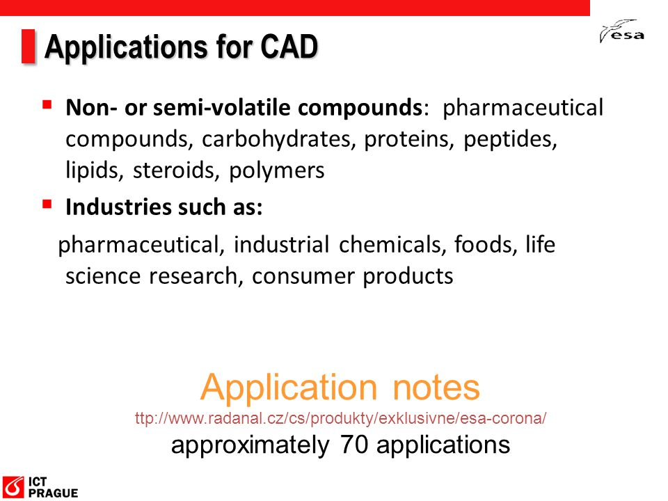 Applications for CAD  Non- or semi-volatile compounds: pharmaceutical compounds, carbohydrates, proteins, peptides, lipids, steroids, polymers  Indu