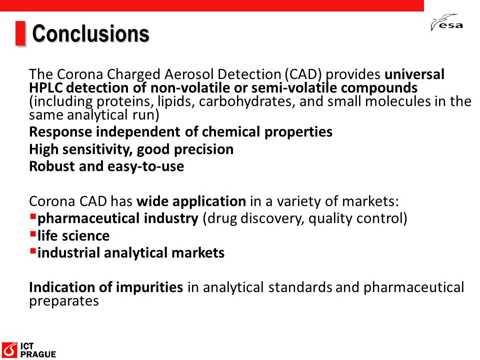 Conclusions The Corona Charged Aerosol Detection (CAD) provides universal HPLC detection of non-volatile or semi-volatile compounds (including proteins, lipids, carbohydrates, and small molecules in the same analytical run) Response independent of chemical properties High sensitivity, good precision Robust and easy-to-use Corona CAD has wide application in a variety of markets:  pharmaceutical industry (drug discovery, quality control)  life science  industrial analytical markets Indication of impurities in analytical standards and pharmaceutical preparates