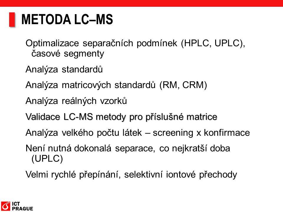 METODA LC–MS Optimalizace separačních podmínek (HPLC, UPLC), časové segmenty Analýza standardů Analýza matricových standardů (RM, CRM) Analýza reálnýc