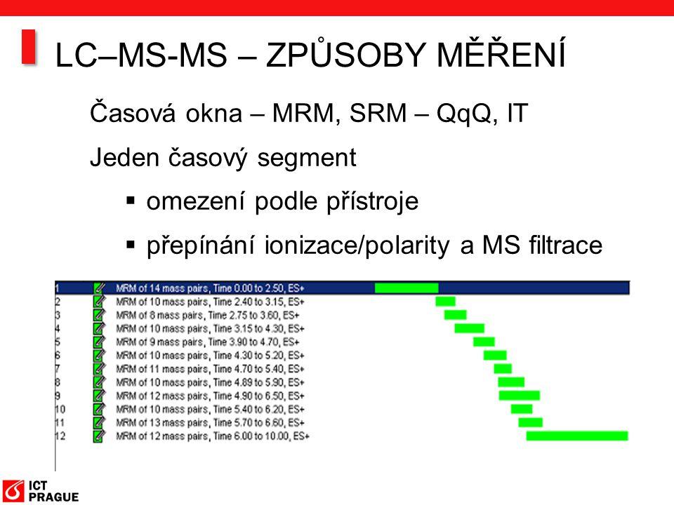 Časová okna – MRM, SRM – QqQ, IT Jeden časový segment  omezení podle přístroje  přepínání ionizace/polarity a MS filtrace