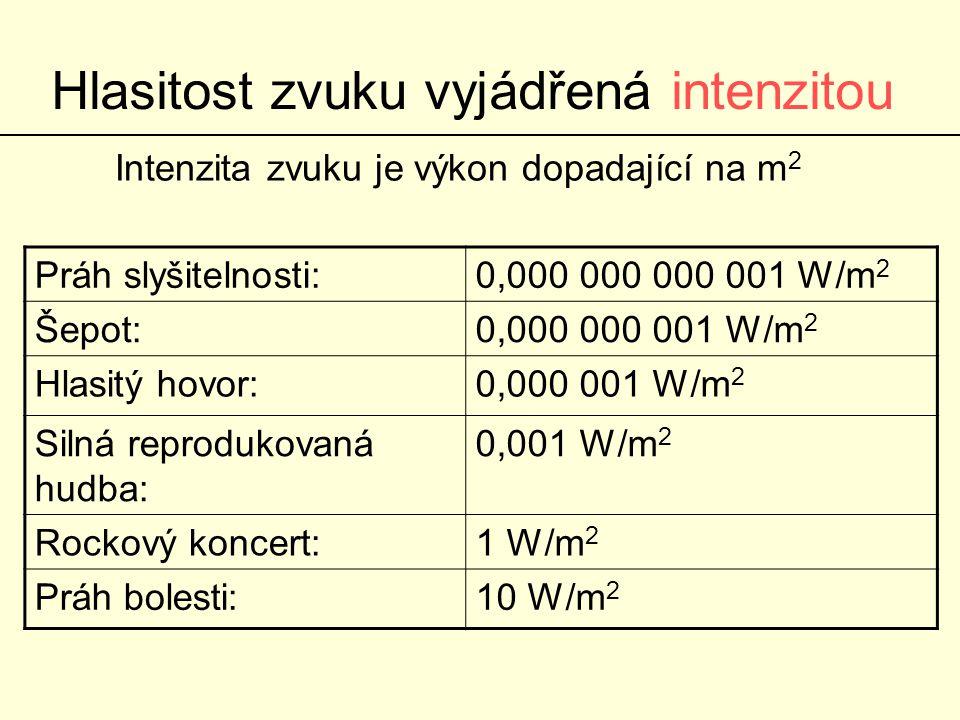 Hlasitost zvuku vyjádřená hladinou intenzity zvuku Zvýšení hladiny intenzity zvuku o 10 dB odpovídá desetinásobnému zvýšení intenzity Pozor: Zvýšení hladiny intenzity zvuku o 20 dB odpovídá stonásobnému zvýšení intenzity Práh slyšitelnosti:0 dB Šepot:30 dB Hlasitý hovor:60 dB Silná reprodukovaná hudba:90 dB Rockový koncert:120 dB Práh bolesti:130 dB