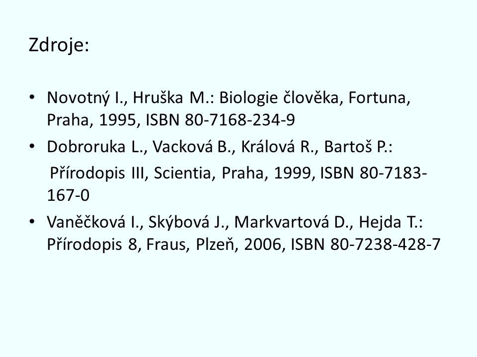 Zdroje: Novotný I., Hruška M.: Biologie člověka, Fortuna, Praha, 1995, ISBN 80-7168-234-9 Dobroruka L., Vacková B., Králová R., Bartoš P.: Přírodopis III, Scientia, Praha, 1999, ISBN 80-7183- 167-0 Vaněčková I., Skýbová J., Markvartová D., Hejda T.: Přírodopis 8, Fraus, Plzeň, 2006, ISBN 80-7238-428-7