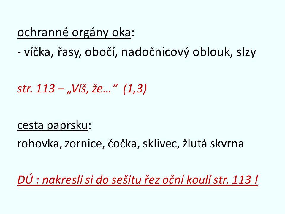 "ochranné orgány oka: - víčka, řasy, obočí, nadočnicový oblouk, slzy str. 113 – ""Víš, že…"" (1,3) cesta paprsku: rohovka, zornice, čočka, sklivec, žlutá"