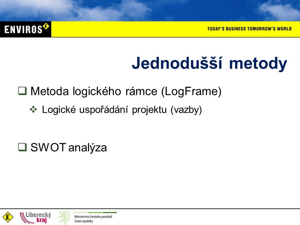 Jednodušší metody  Metoda logického rámce (LogFrame)  Logické uspořádání projektu (vazby)  SWOT analýza