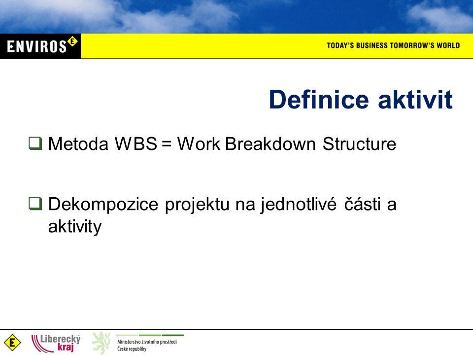 Definice aktivit  Metoda WBS = Work Breakdown Structure  Dekompozice projektu na jednotlivé části a aktivity