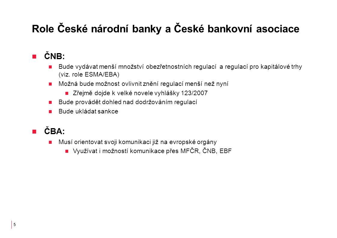 Role České národní banky a České bankovní asociace ČNB: Bude vydávat menší množství obezřetnostních regulací a regulací pro kapitálové trhy (viz.