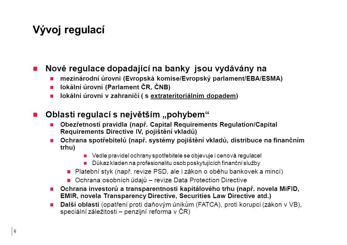 """Vývoj regulací Nové regulace dopadající na banky jsou vydávány na mezinárodní úrovni (Evropská komise/Evropský parlament/EBA/ESMA) lokální úrovni (Parlament ČR, ČNB) lokální úrovni v zahraničí ( s extrateritoriálním dopadem) Oblasti regulací s největším """"pohybem Obezřetností pravidla (např."""