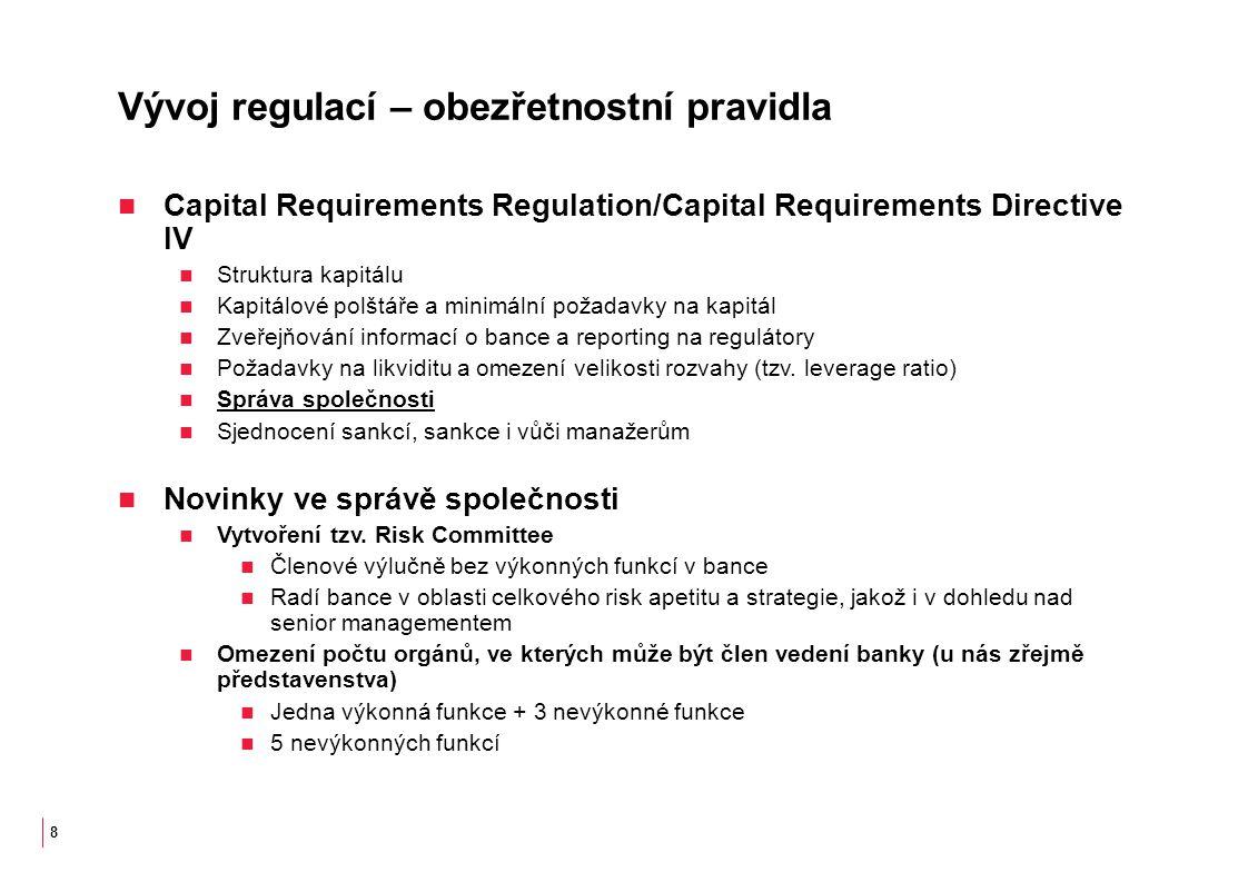 Vývoj regulací – obezřetnostní pravidla Capital Requirements Regulation/Capital Requirements Directive IV Struktura kapitálu Kapitálové polštáře a minimální požadavky na kapitál Zveřejňování informací o bance a reporting na regulátory Požadavky na likviditu a omezení velikosti rozvahy (tzv.
