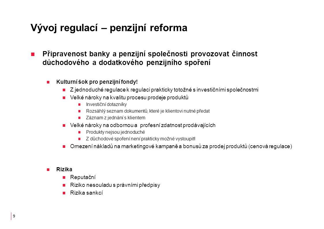 Vývoj regulací – penzijní reforma Připravenost banky a penzijní společnosti provozovat činnost důchodového a dodatkového penzijního spoření Kulturní šok pro penzijní fondy.
