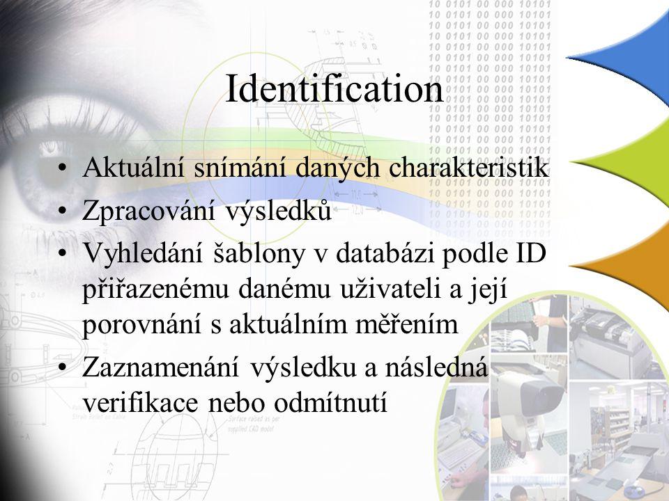 Identification Aktuální snímání daných charakteristik Zpracování výsledků Vyhledání šablony v databázi podle ID přiřazenému danému uživateli a její porovnání s aktuálním měřením Zaznamenání výsledku a následná verifikace nebo odmítnutí