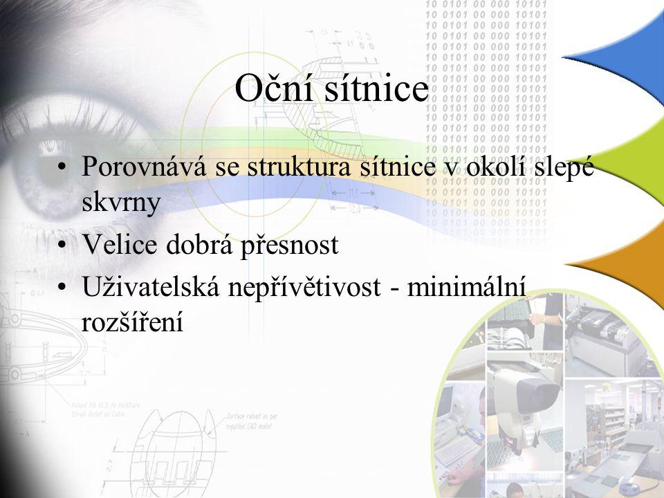 Oční sítnice Porovnává se struktura sítnice v okolí slepé skvrny Velice dobrá přesnost Uživatelská nepřívětivost - minimální rozšíření