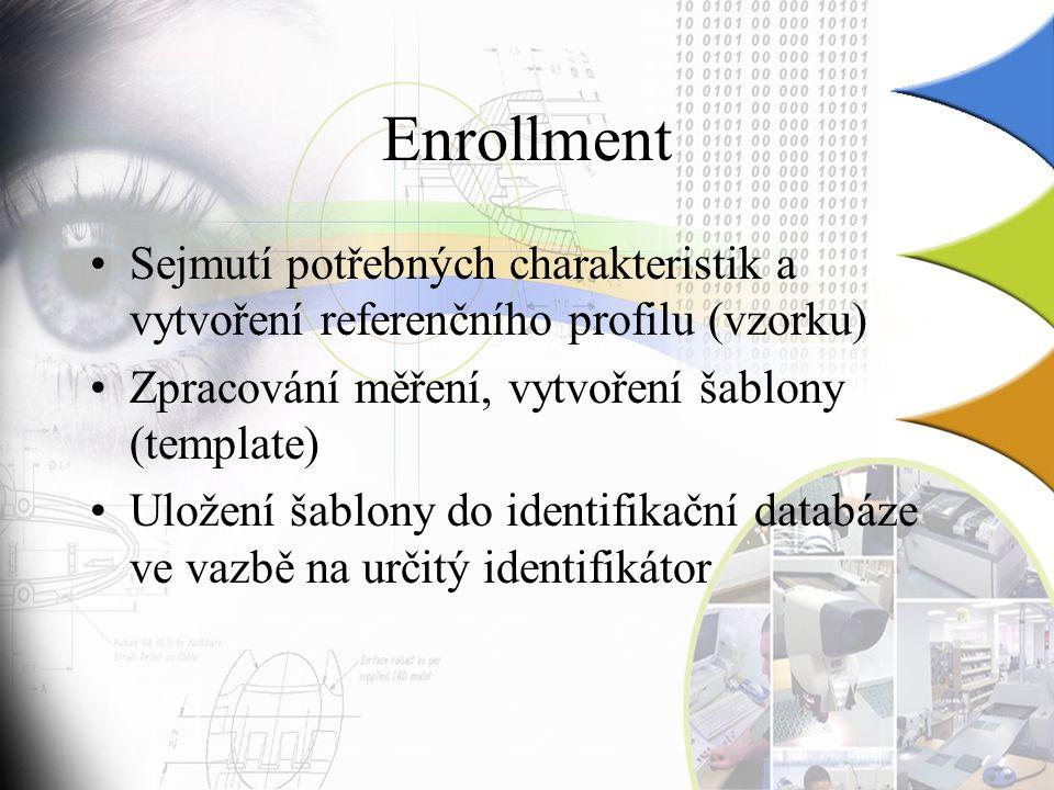 Enrollment Sejmutí potřebných charakteristik a vytvoření referenčního profilu (vzorku) Zpracování měření, vytvoření šablony (template) Uložení šablony do identifikační databáze ve vazbě na určitý identifikátor
