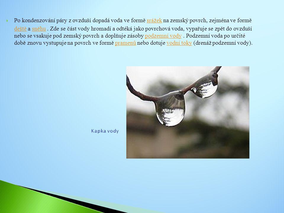  Voda je: povrchová ( v potocích, řekách, jezerech, mořích) nebo podzemní ( v půdě, podzemních jezerech)  Vodu obsahují rostliny i živočichové  Na Zemi najdeme vodu ve stavu: plynném, kapalném, pevném  Na Zemi probíhá neustálý koloběh vody  Bez čisté vody nemůžeme žít