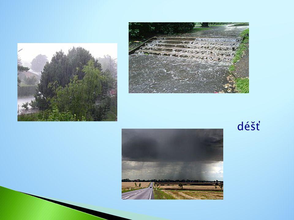  Po kondenzování páry z ovzduší dopadá voda ve formě srážek na zemský povrch, zejména ve formě deště a sněhu.