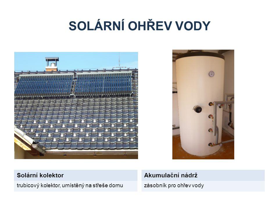 SOLÁRNÍ OHŘEV VODY Solární kolektorAkumulační nádrž trubicový kolektor, umístěný na střeše domuzásobník pro ohřev vody