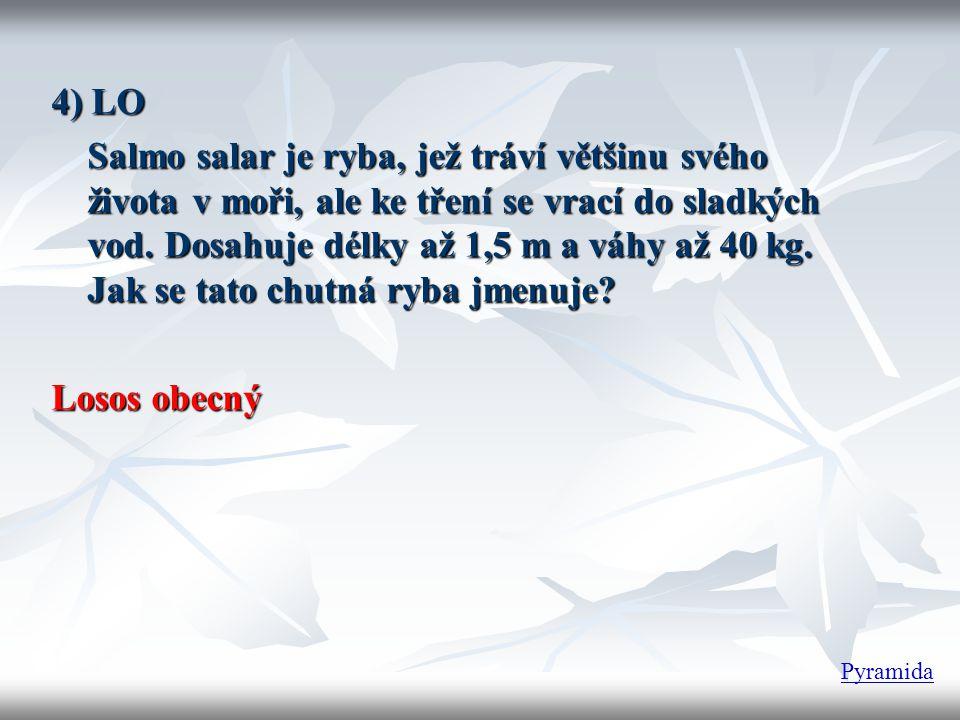 4) LO Salmo salar je ryba, jež tráví většinu svého života v moři, ale ke tření se vrací do sladkých vod. Dosahuje délky až 1,5 m a váhy až 40 kg. Jak