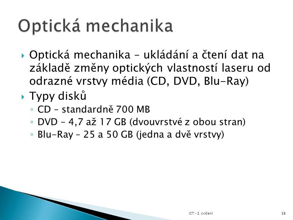  Optická mechanika – ukládání a čtení dat na základě změny optických vlastností laseru od odrazné vrstvy média (CD, DVD, Blu-Ray)  Typy disků ◦ CD –