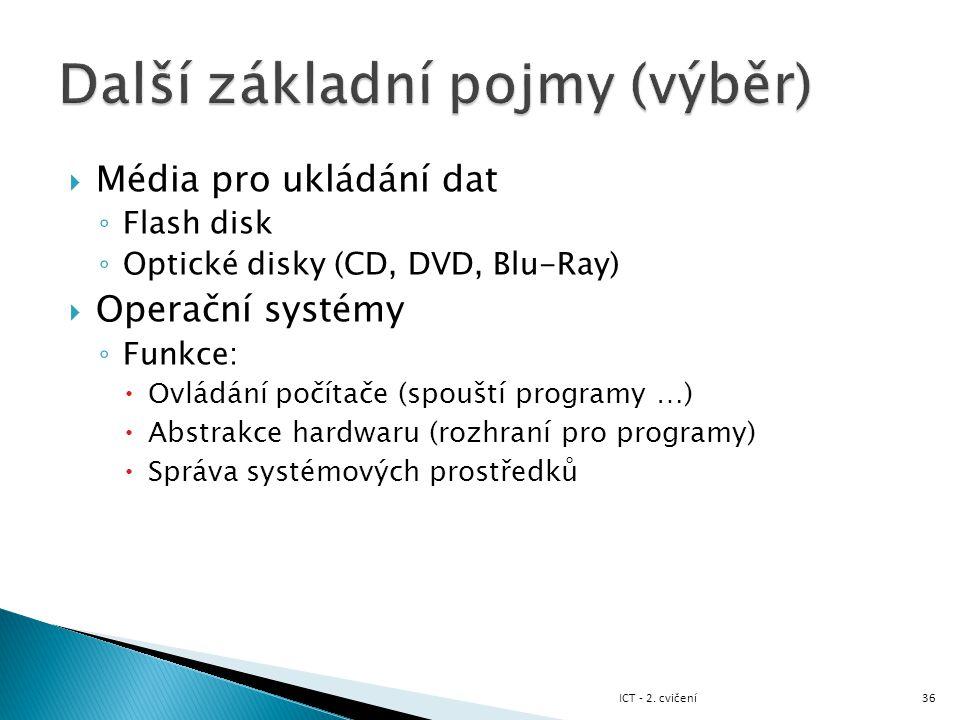 Média pro ukládání dat ◦ Flash disk ◦ Optické disky (CD, DVD, Blu-Ray)  Operační systémy ◦ Funkce:  Ovládání počítače (spouští programy …)  Abstr
