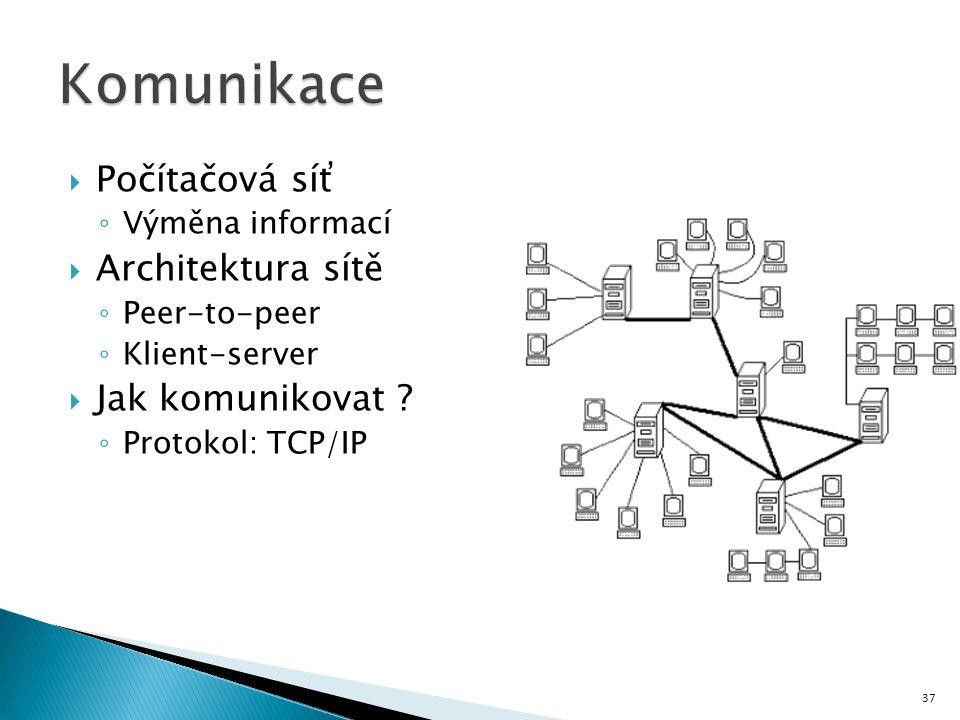 Počítačová síť ◦ Výměna informací  Architektura sítě ◦ Peer-to-peer ◦ Klient-server  Jak komunikovat ? ◦ Protokol: TCP/IP 37