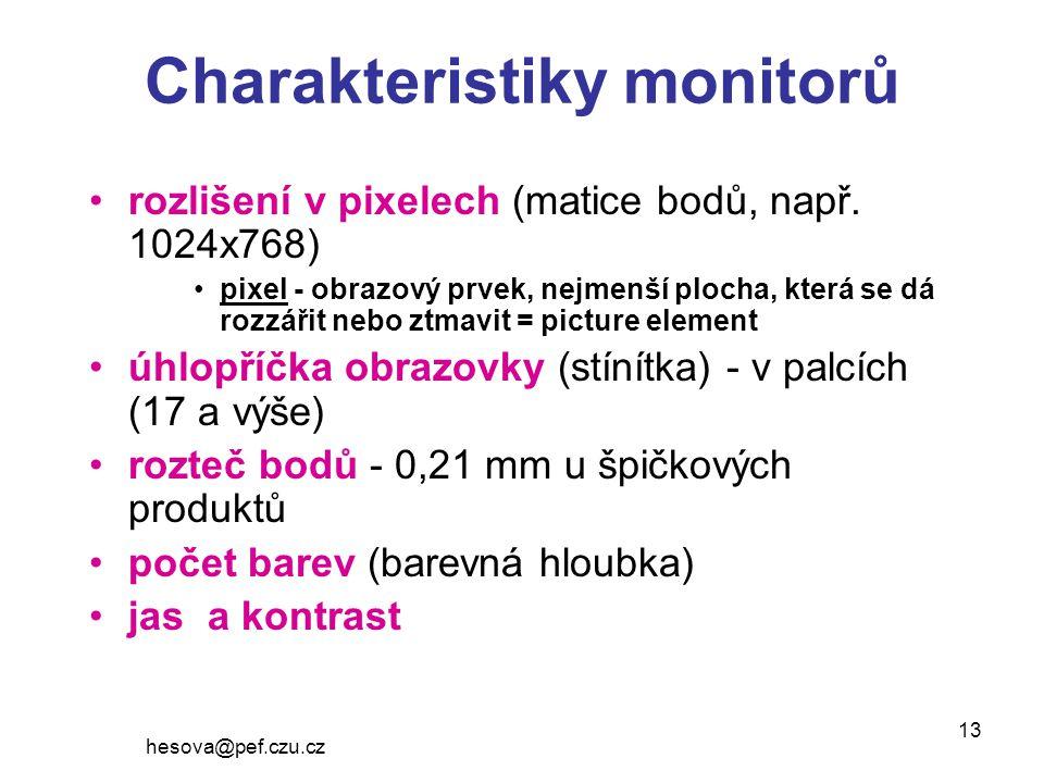hesova@pef.czu.cz 13 Charakteristiky monitorů rozlišení v pixelech (matice bodů, např.