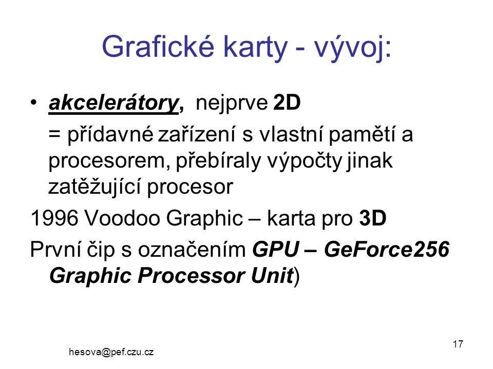 Grafické karty - vývoj: akcelerátory, nejprve 2D = přídavné zařízení s vlastní pamětí a procesorem, přebíraly výpočty jinak zatěžující procesor 1996 Voodoo Graphic – karta pro 3D První čip s označením GPU – GeForce256 Graphic Processor Unit) hesova@pef.czu.cz 17