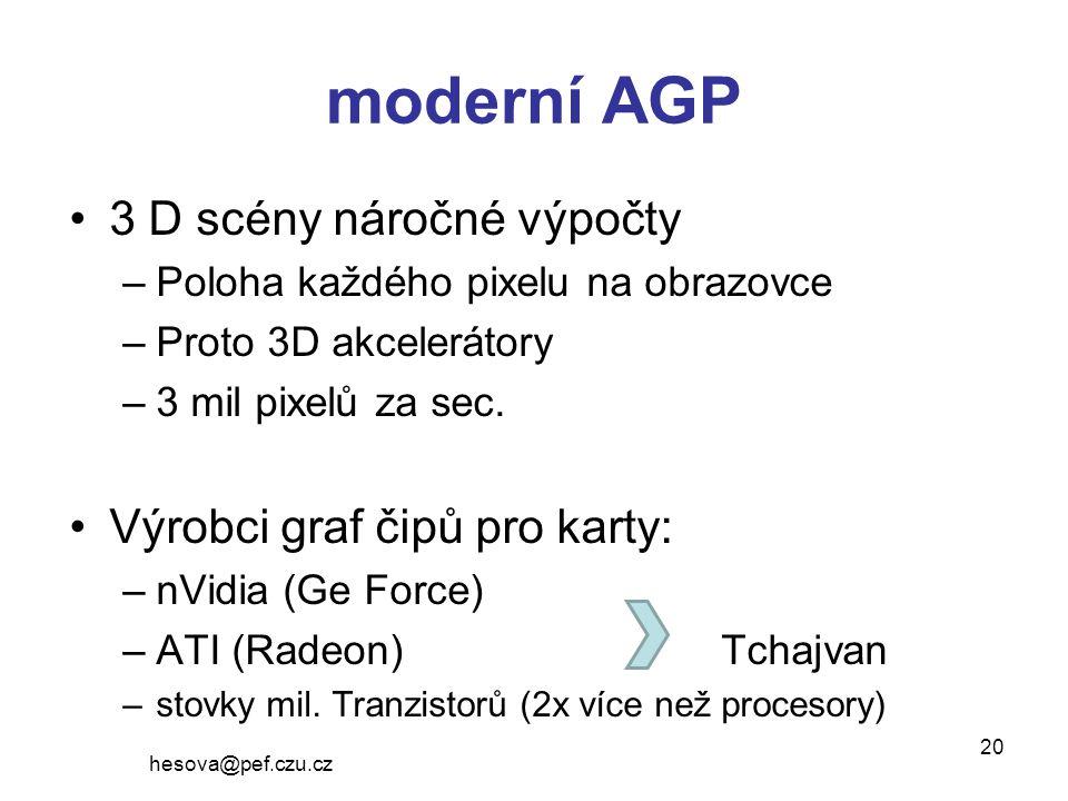moderní AGP 3 D scény náročné výpočty –Poloha každého pixelu na obrazovce –Proto 3D akcelerátory –3 mil pixelů za sec.