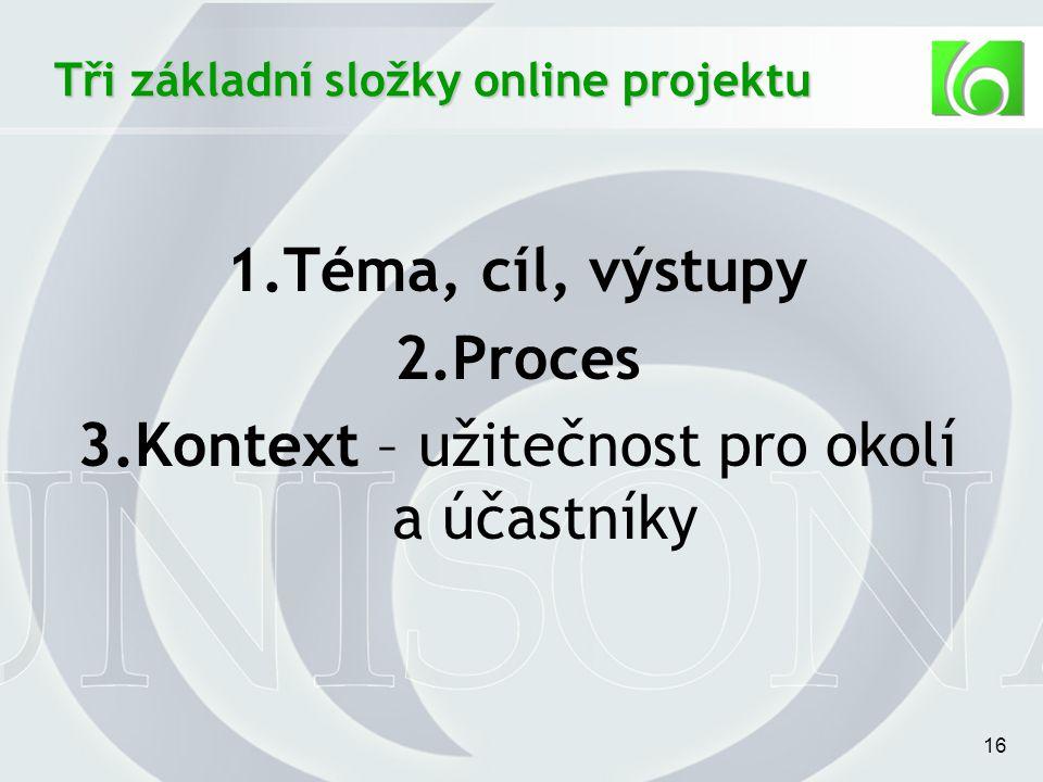 16 1.Téma, cíl, výstupy 2.Proces 3.Kontext – užitečnost pro okolí a účastníky Tři základní složky online projektu