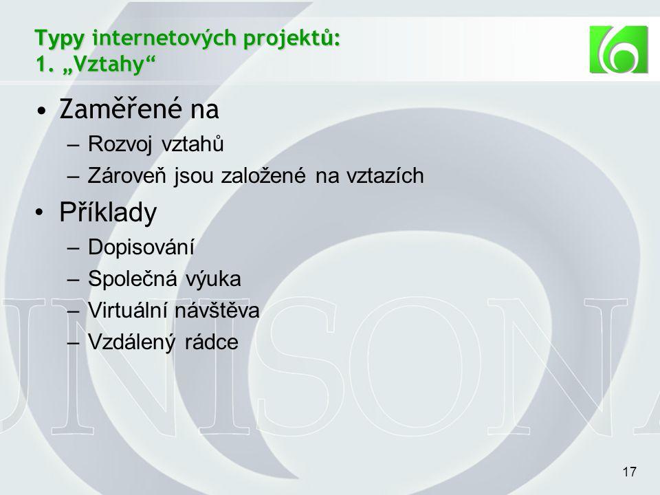 17 Typy internetových projekt ů : 1.