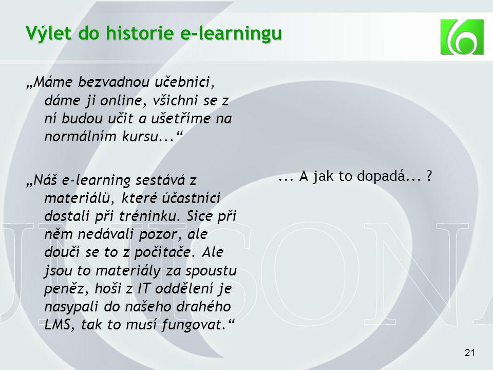 """21 Výlet do historie e-learningu """"Máme bezvadnou učebnici, dáme ji online, všichni se z ní budou učit a ušetříme na normálním kursu... """"Náš e-learning sestává z materiálů, které účastníci dostali při tréninku."""