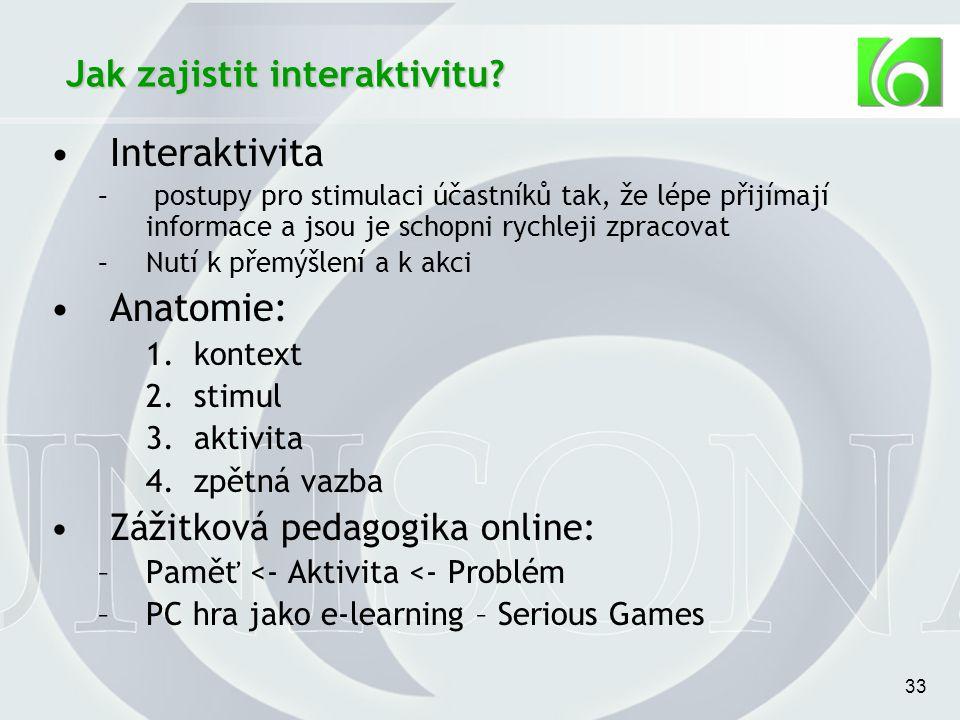 33 Jak zajistit interaktivitu.