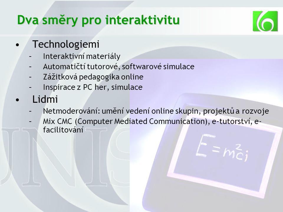 34 Dva směry pro interaktivitu Technologiemi –Interaktivní materiály –Automatičtí tutorové, softwarové simulace –Zážitková pedagogika online –Inspirace z PC her, simulace Lidmi –Netmoderování: umění vedení online skupin, projektů a rozvoje –Mix CMC (Computer Mediated Communication), e-tutorství, e- facilitování