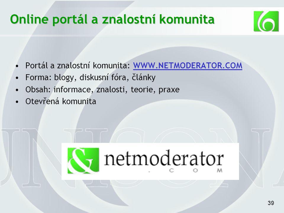 39 Online portál a znalostní komunita Portál a znalostní komunita: WWW.NETMODERATOR.COMWWW.NETMODERATOR.COM Forma: blogy, diskusní fóra, články Obsah: informace, znalosti, teorie, praxe Otevřená komunita