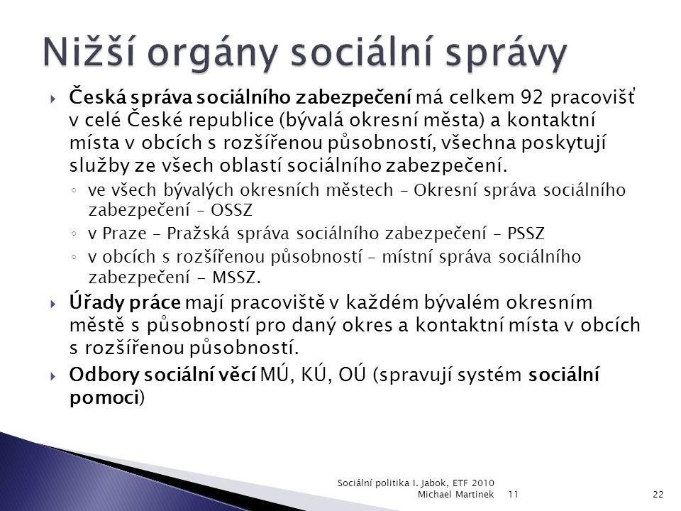  Česká správa sociálního zabezpečení má celkem 92 pracovišť v celé České republice (bývalá okresní města) a kontaktní místa v obcích s rozšířenou působností, všechna poskytují služby ze všech oblastí sociálního zabezpečení.