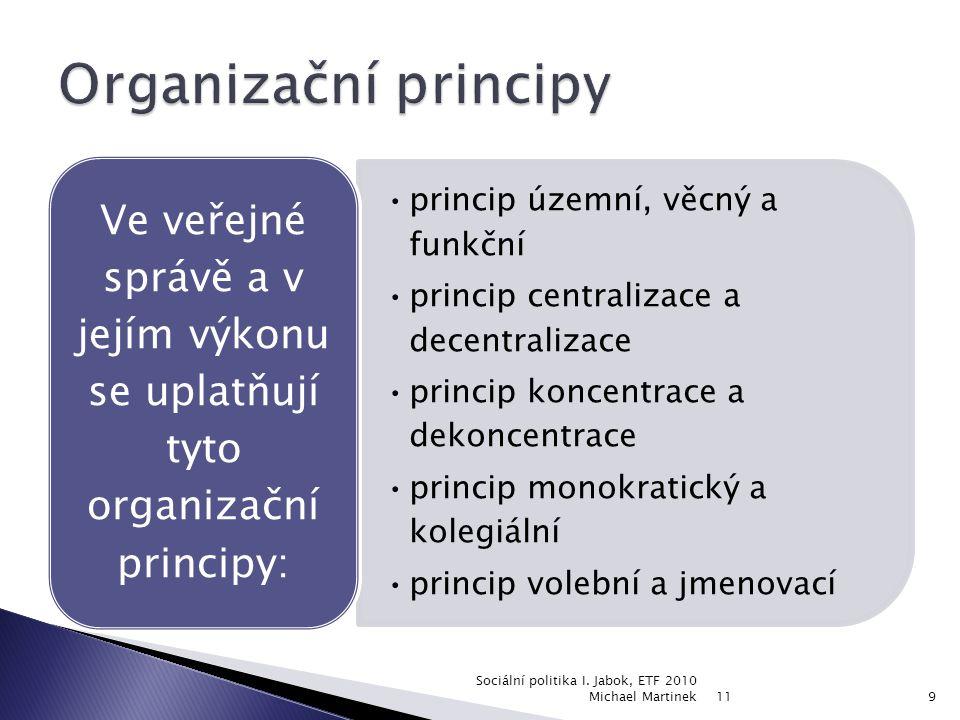 princip územní, věcný a funkční princip centralizace a decentralizace princip koncentrace a dekoncentrace princip monokratický a kolegiální princip volební a jmenovací Ve veřejné správě a v jejím výkonu se uplatňují tyto organizační principy: 11 Sociální politika I.