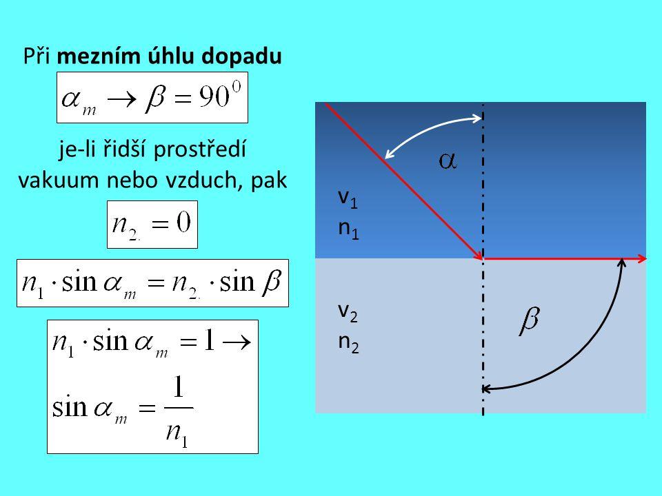 Při mezním úhlu dopadu v1n1v1n1 v2n2v2n2 je-li řidší prostředí vakuum nebo vzduch, pak