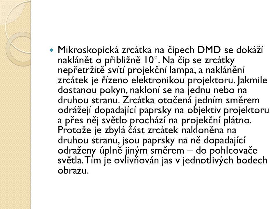 Mikroskopická zrcátka na čipech DMD se dokáží naklánět o přibližně 10°.