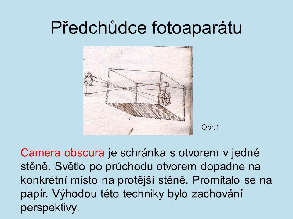 Předchůdce fotoaparátu Camera obscura je schránka s otvorem v jedné stěně.