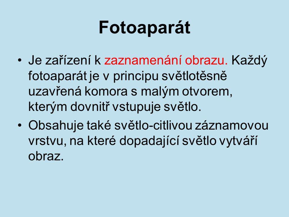 Fotoaparát Je zařízení k zaznamenání obrazu.