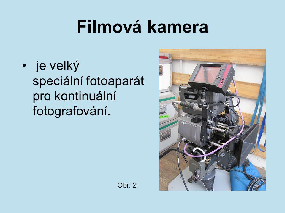 Filmová kamera je velký speciální fotoaparát pro kontinuální fotografování. Obr. 2