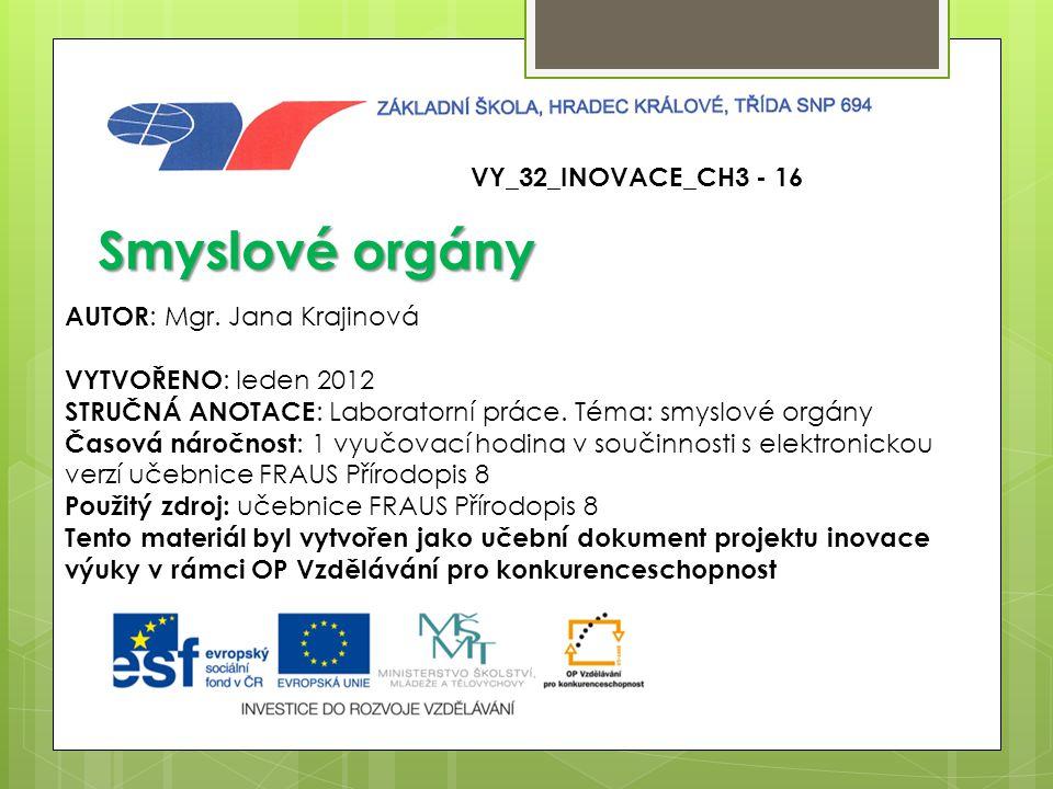 VY_32_INOVACE_CH3 - 16 Smyslové orgány AUTOR : Mgr.